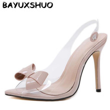 BAYUXSHUO New Bow Ladies High Heel Shoes Fashion Sexy PVC Party Women