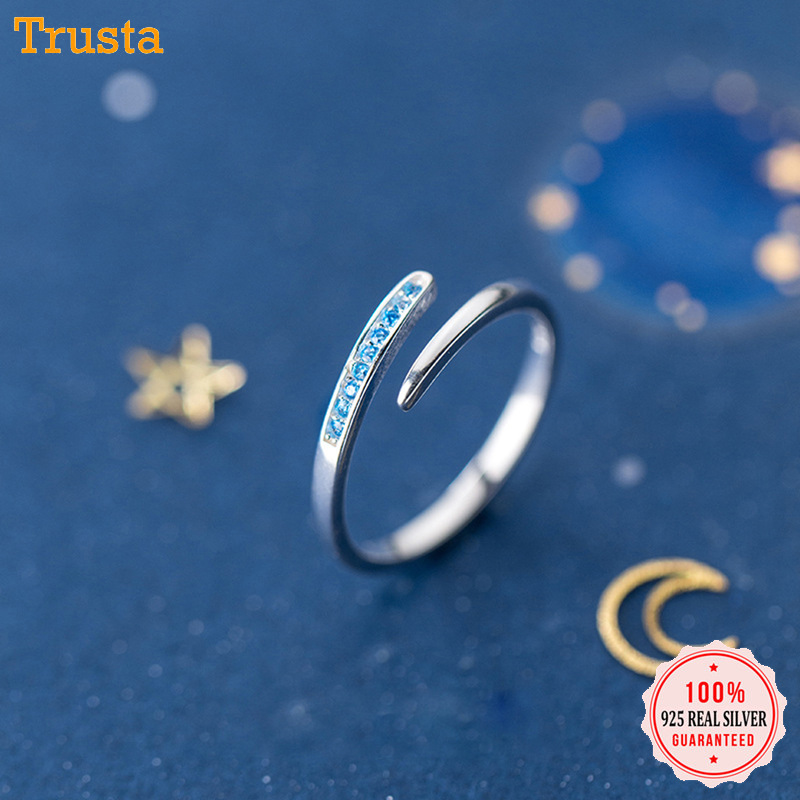 Trustdavis 100% 925 Sterling Silver Sweet Snake Blue CZ Cocktail Adjustable Ring For Women Party Silver 925 Ring Jewelry DA265