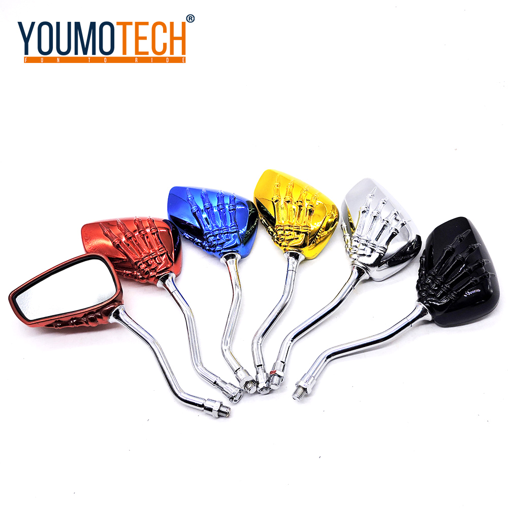 10mm Aluminum Chrome Skeleton Skull Hand Claw Rearview Mirror Motorcycle Rear View Mirrors For Harley Chopper Custom