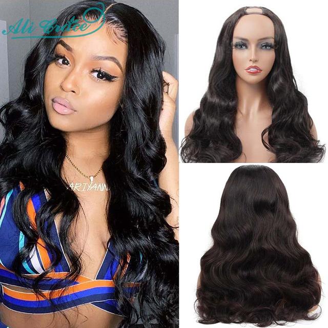 Glueless Body Wave U Part Wigs For Women Cheap Brazilian Human Hair Wigs 150% Density Ali Grace Hair Wigs U Shape Lace Wigs
