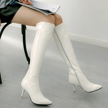 Ladies Shoes Long-Boots High-Heel Pointed-Toe Knee Black Autumn White Fashion Women PU