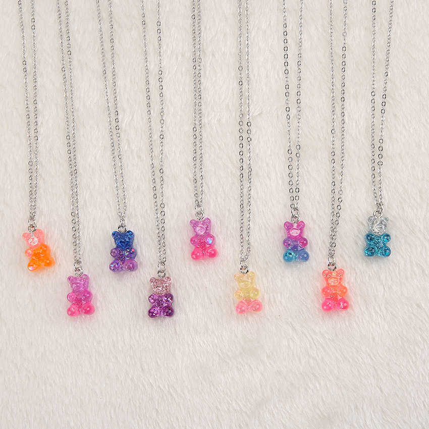 1pc Women Necklace  Multicolor Resin gummy bear pendant for Children Birthday Gift Woman Jewelry