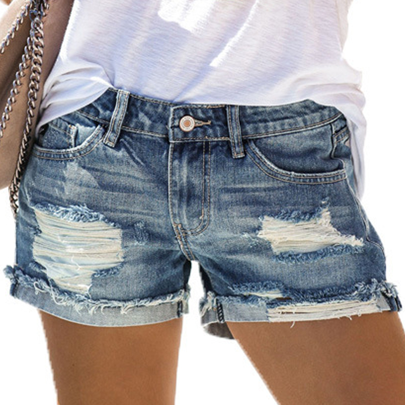 VICABO Women Shorts Summer 2020 Fashion Ladies Girls Denim Shorts Clothes Hole Straight Shorts