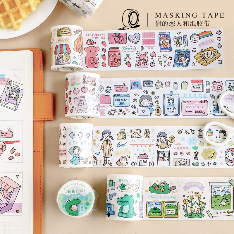 Soft Cute Diary Series Journal Washi Tape DIY Scrapbooking Sticker Label Cartoon Character Masking Tape School Office Supply