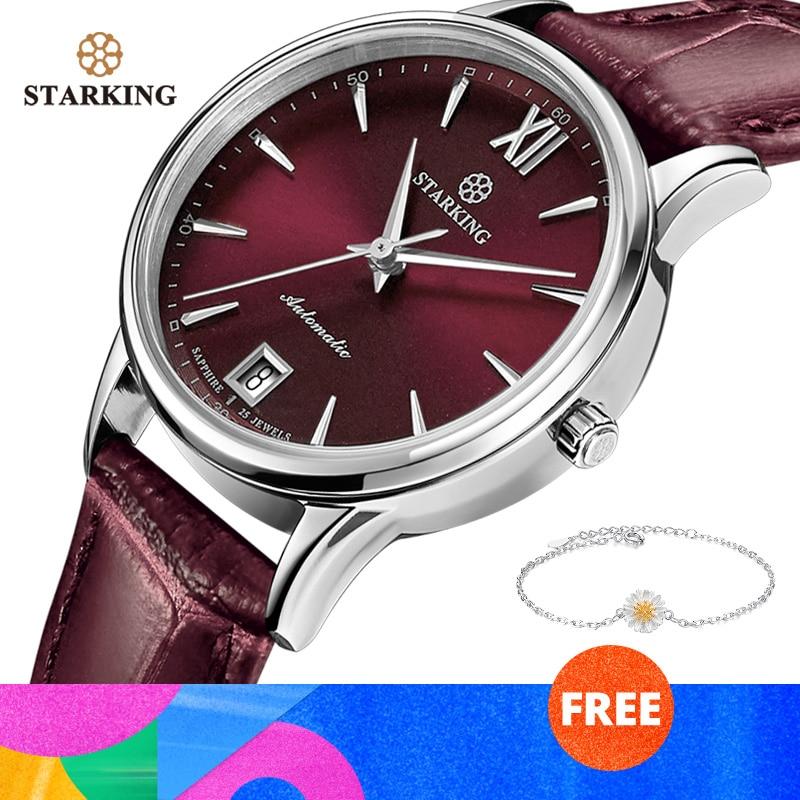 STARKING Watches Women Fashion Watch Stainless Steel Automatic Mechanial Wristwatches Elegant Female Golden Ladies Watch