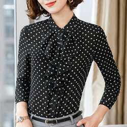 Women Casual polka dots blouse Chiffon long sleeve office ladies  Button Shirt black tops plus size Black Women Clothing