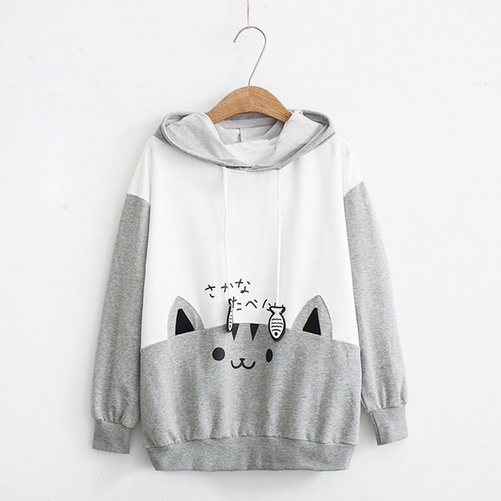 Ha733c9ae6d434c688bc2a5789209ce2cd Kpop Women Oversize Outwear Womens Casual Long Sleeve Kitty Cat Print Pocket Thin Hoodie Blouse Top Shirt Cute Loose Fleece