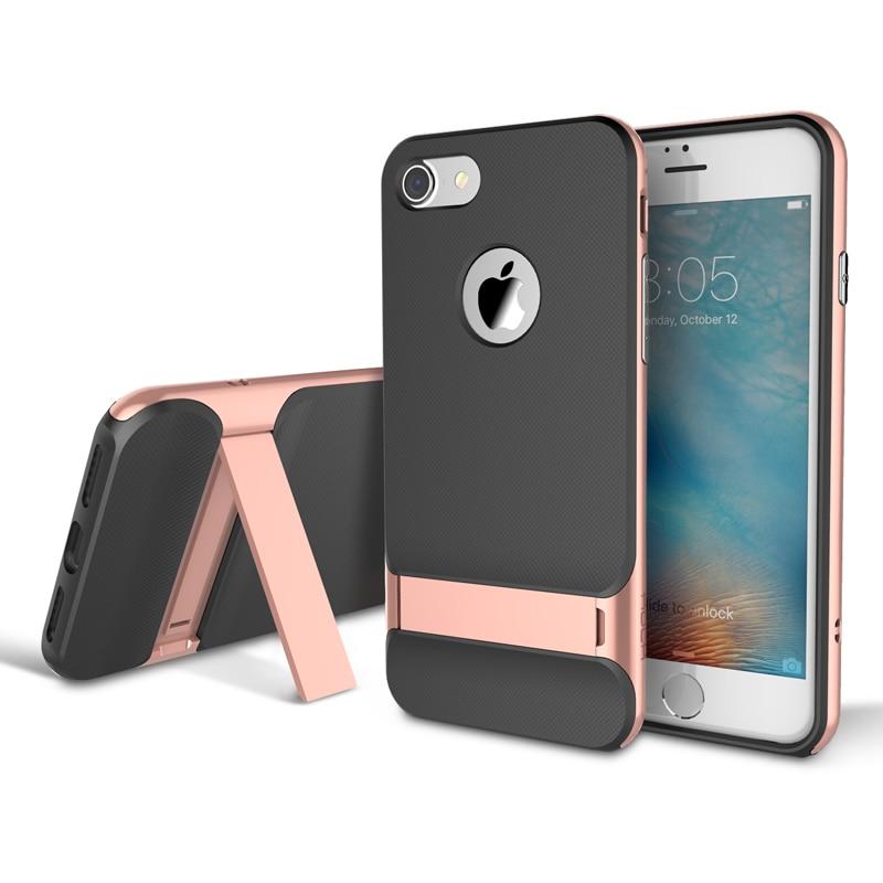 Rock pro iPhone 7 7 plus telefon royce Kickstand držák PC rámeček + TPU zadní kryt luxusní obal na iPhone 7