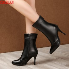 CDAXILAN new to short boots women spring autumn soft PU leather high heels size zipper pointed toe Martin boots sexy thin heel цена 2017