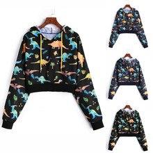 Толстовки с капюшоном для женщин, индивидуальный уличная одежда с принтом динозавра, длинный рукав, пуловер с капюшоном, короткий свитшот, Прямая поставка, 15