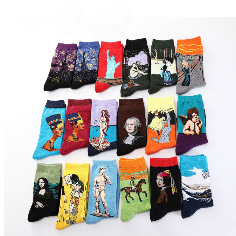 Happy Van Gogh Socks Men Fashions Oil Painting  Retro Collection Art Socks Male Gifts For Man Use In Winter 03