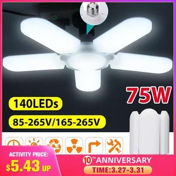 Super brillante iluminación Industrial 75w E27 ventilador Led Luz de garaje 4800LM 85-265V 2835 Led campana montaje alto Industrial lámpara para taller