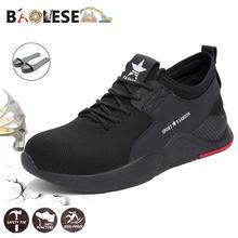 BAOLESEM Man Safety Shoes Male Work Steel Toe Anti-smashing Sneakers Men Working Boots Breathable Fashion