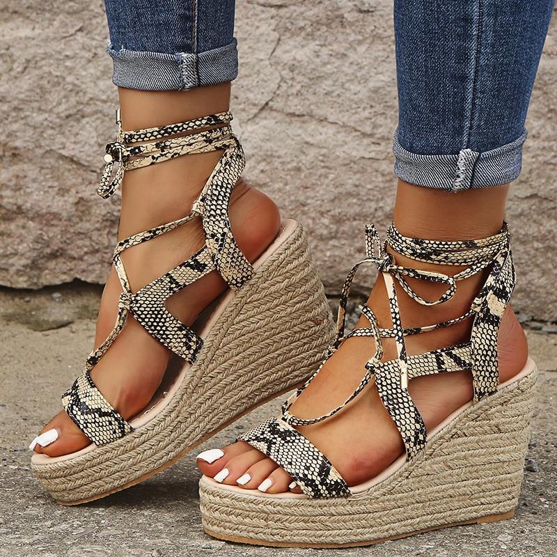 2020 New Women Shoes Ankle Strap Summer High Wedges Heel Sandals Fashion Open Toe Platform Elevator Women Sandals Shoes Ladies