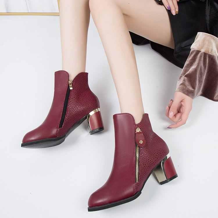 Moda elegante invierno otoño tacones gruesos mujeres señora botas punta puntiaguda tobillo femenino cremallera Slip En Bota Bottine Mujer Zapatos c094