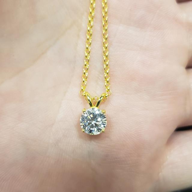 Oevas real 1 quilates d cor moissanite pingente para mulher 18k banhado a ouro 100% 925 prata esterlina festa de casamento jóias finas presente 3