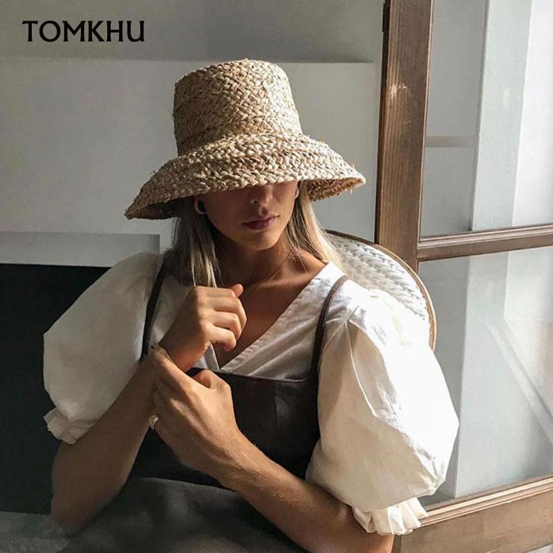 TOMKHU New Hand Made Summer Hats For Women Raffia Straw Sun Hat Bucket Cap Lady Girls Panama Beach Floppy Female Travel Hats