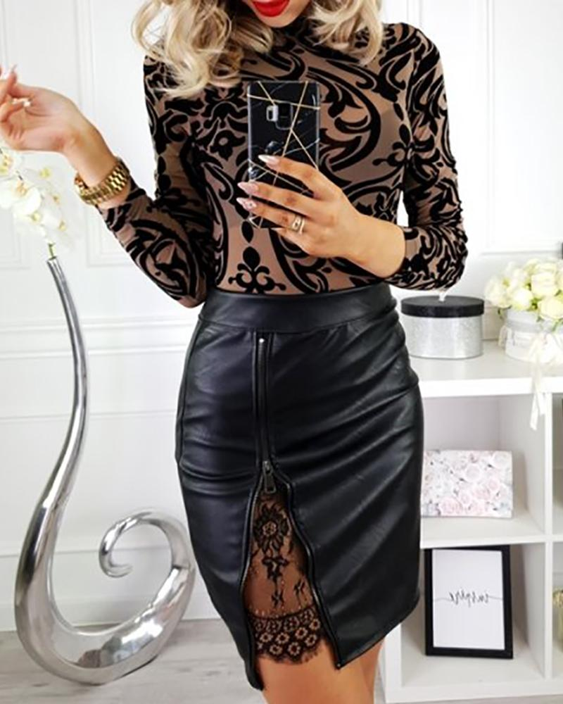 New 2020 Summer Women OL Formal Lace Stretch High Waist PU Faux Leather Short Bodycon Mini Skirt Zipper Pencil Mini Skirt Black