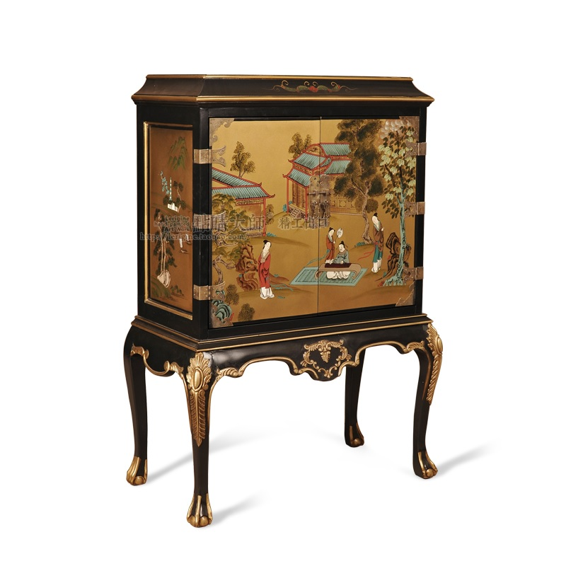 120cm High Ancient Chinese Ming Chest Cabinet With Claw Feet / Gilded