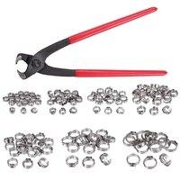 Single Ear Stepless Hose Clamps 130Pcs 5.8 21Mm 304 Stainless Steel Cinch Clamp Rings Single Ear Hose Clamp Crimper Tool Kit