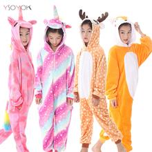 Zima Kigurumi dzieci jednorożec piżamy Stitch Panda Onesie piżamy dla chłopców dziewcząt zwierząt piżamy flanelowe piżamy dzieci Pijama tanie tanio YSOYOK Poliester Cartoon Children Pajamas Unisex Pasuje prawda na wymiar weź swój normalny rozmiar