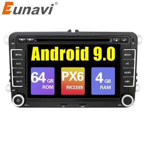 Eunavi 2 din Android 9,0 Автомобильный мультимедийный радио плеер GPS для VW GOLF 6 Polo Bora JETTA B6 PASSAT Tiguan SKODA OCTAVIA DSP IPS BT