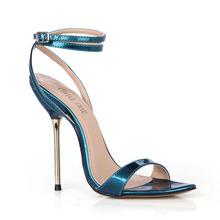 Summer New 11cm High Heeled Sandals Fashion Patent Stiletto Thin heel Ankle Strap Open Toe Sexy Party Dress Women Shoes 5-i9 brand new rhinestone open toe super high stiletto 11cm high heel sandals banquet wedding sexy wild women s shoes zapatos de muje