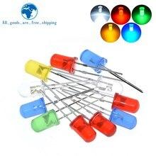 5 kolorów * 20 sztuk = 100 sztuk 5mm diody LED wybrane elementy zielony niebieski biały żółty czerwony komponent DIY Kit nowy oryginalny