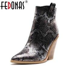 FEDONAS 겨울 여성 플러스 사이즈 Chunky Heels 파티 나이트 클럽 신발 여성 브랜드 여성 가죽 앵클 부츠 클래식 서양 부츠