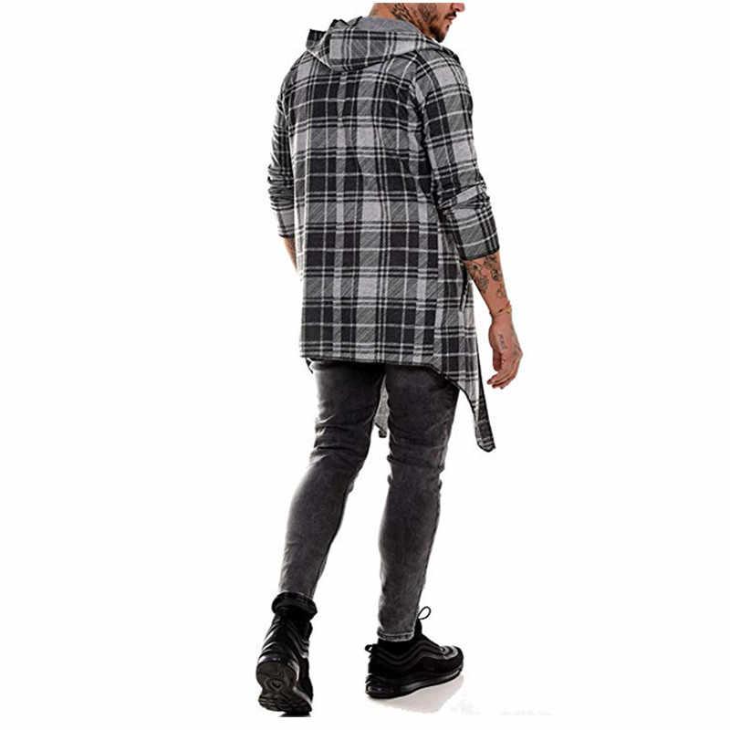 الرجال ساخنة جديدة ماركة الموضة عادية المفتوحة غرزة مقنعين عباءة طويلة معطف الرأس الرجال الصلبة جيب فضفاض ساعة معطف