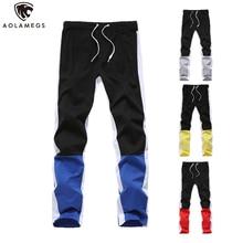 Aolamegs Men Pants Hip Hop Hit Color Sports Male Elastic Waist Trousers Simple Casual Drawstring All-match Sweatpants