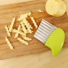 Ondulado papas fritas francos corte de cabelo inoxidável patata cortadora vegetal helicoptero rebanador para vegetarianos