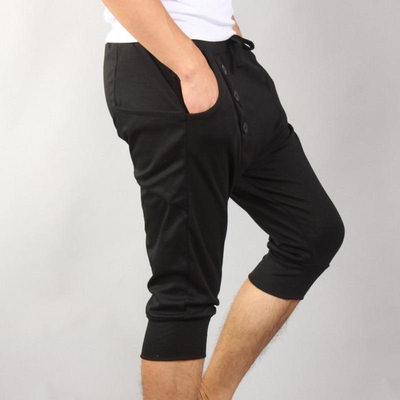 Summer Korean Men Black Casual Harem Pants Harajuku Thin Calf-Length Pencil Pants Fashion Outdoor Slim Fit Short Trousers Male