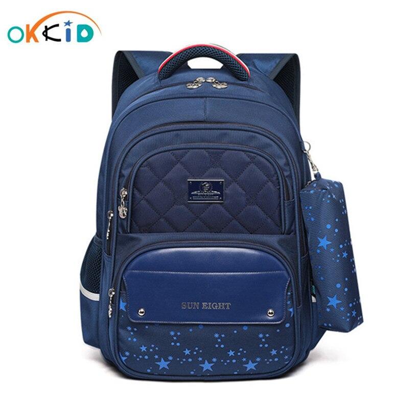 OKKID Primary School Backpack School Bag For Boy Waterproof Nylon Orthopedic Backpack School Bookbag Christmas Gifts For Boys