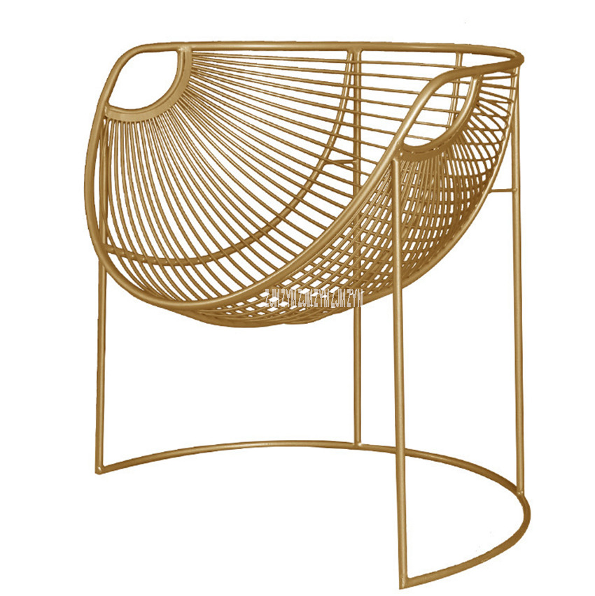 Metal Frame Iron Leisure Chair Modern Simple Creative Iron Chair Household Living Room Lazy Single Study Balcony Golden Chair