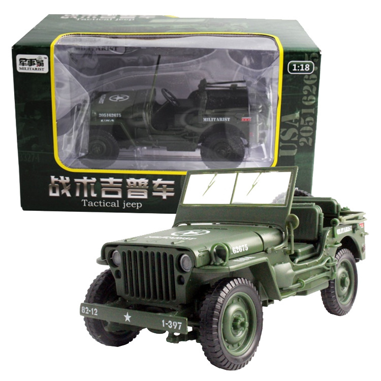 1:18 Tactical Military Model Jeeps Old World War II Willis Military Vehicles Alloy Car Model For Kids Toys Gifts Free Shipping