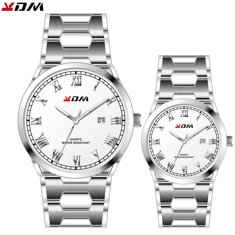 Full White Steel Couple Watch Reloj Pareja Hombre Y Mujer Accurate Time Regalo Pareja Unisex Relojes Para Pareja Wrist Watch Hot