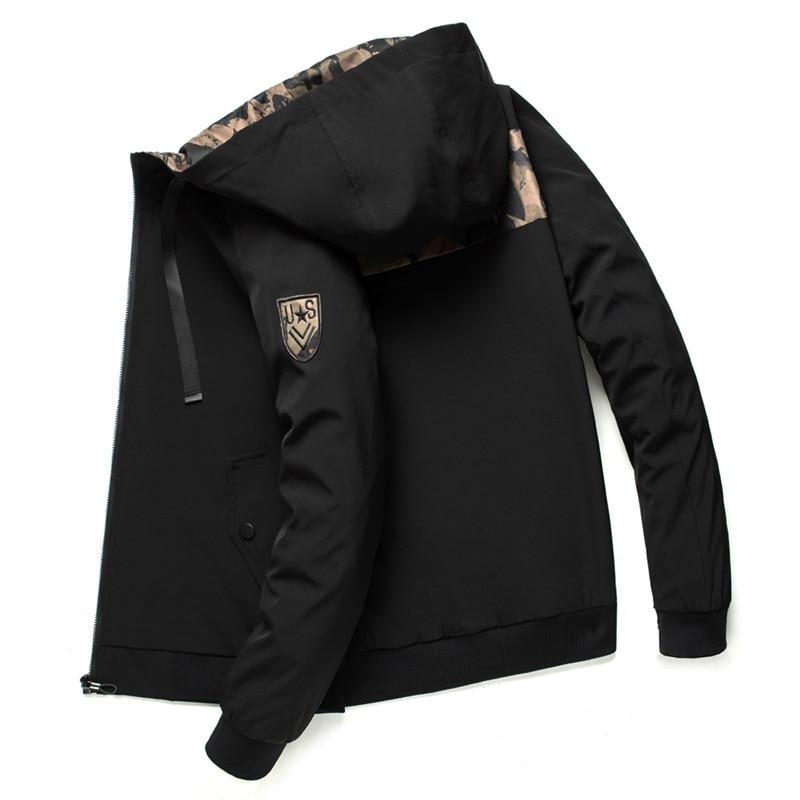 Hooded Jacket Men Autumn Spring Casual Camouflage Windbreaker Bomber Jackets Male Outwear Zipper Coat Student Streetwear ,GA394