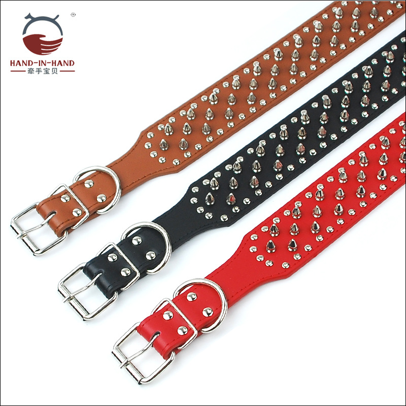 Hand-in-hand Pet Supplies Pet Collar Large Dog Collar Dog Supplies Spike Genuine Leather Neck Band