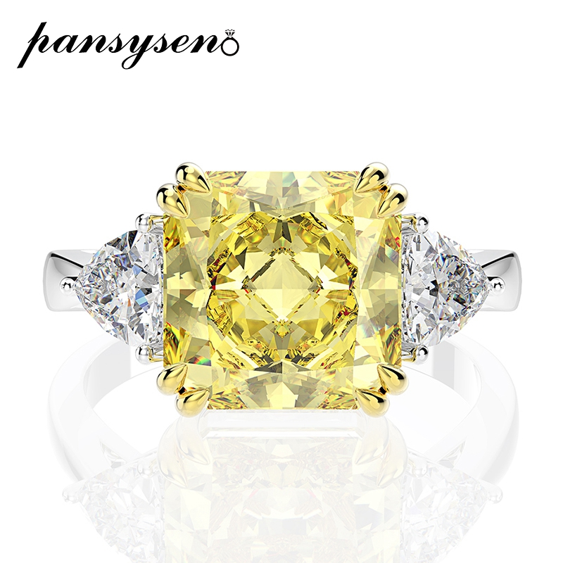PANSYSEN Charms 10MM Created Moissanite Citrine Quartz Bride Wedding Engagement Rings For Women 925 Sterling Silver Jewelry Ring