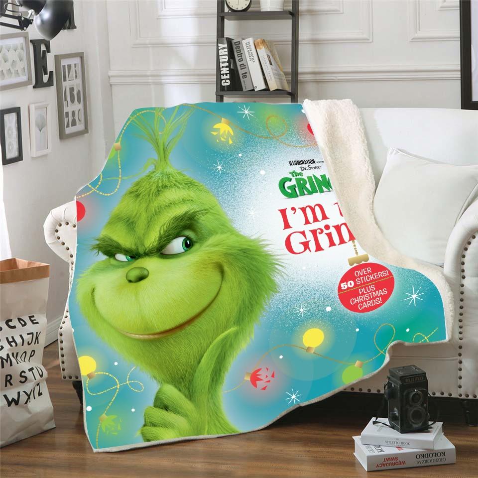 Green Fur Monster Grinch Square Blanket Double Thicken Blanket 3D Digital Printing Blanket Sofa Cover Blanket