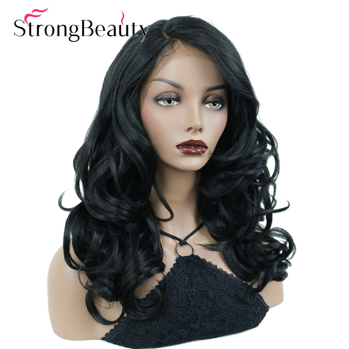 StrongBeauty Women's Synthetic Lace Front Wigs Dark Black Curly Hair Long Lace Wig Natural