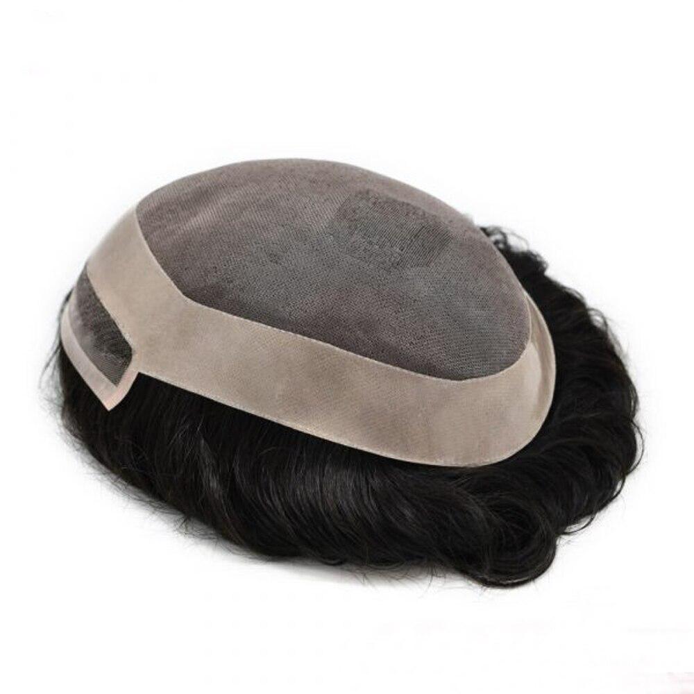 BYMC Men Toupee Fine Mono Men PU Toupee 100% Human Hair All Hand Tied Light To Medium Density Jet Black And Blonde Hair Replacem