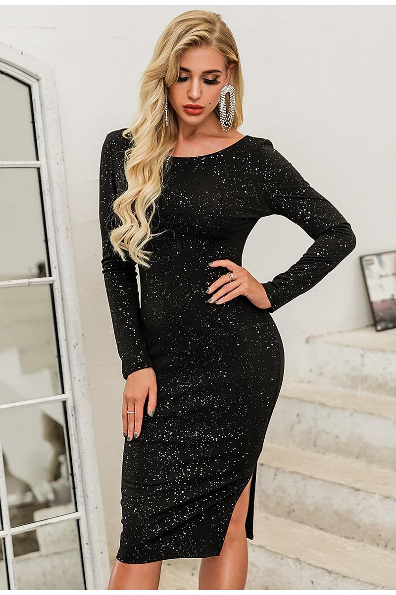Elegant Black O-Neck Long Sleeve Backless Sequin Midi Dress 2