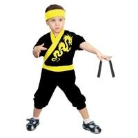 Carnival costume Ninja: Yellow Dragon, jumpsuit, hat, nunchucks, height 86 92 cm