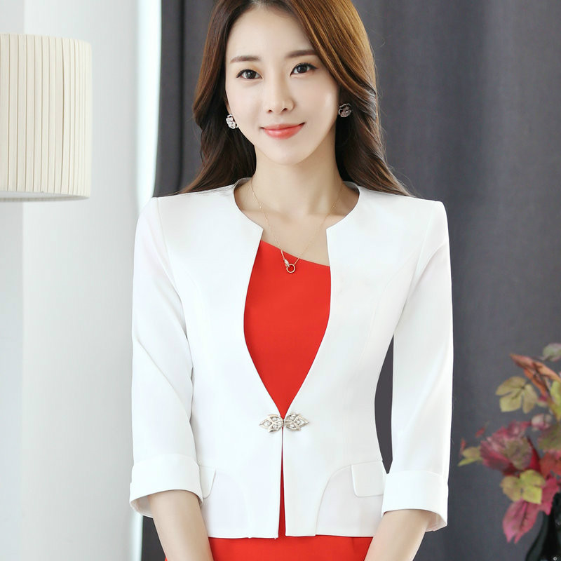 HanOrange Single Button Office Lady Plus Size OL Traditional Classical Half Sleeve Female Women Blazer Jacket White/Red S-XXXXL