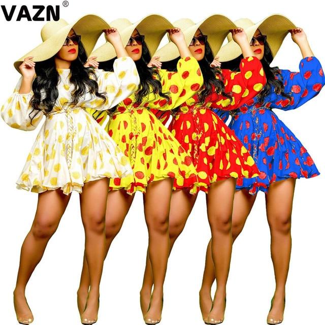 VAZN 2020 Sexy Summer Vocation A-line Chic o-neck Mini Dresses Full Sleeve Dress Sexy Beach Elegant Dress 2