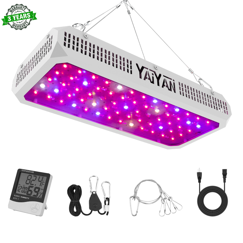 YAIYAN 650W LED Plant Grow Light,with Thermometer Humidity Monitor,with Adjustable Rope,Full Spectrum Double Switch Plant Light