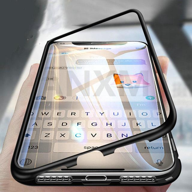 Metal magnetyczny etui do iphone X X Xs 11 Pro Max szkło hartowane z powrotem magnes skrzynki pokrywa dla iphone 6 6S 7 8 Plus skrzynki pokrywa