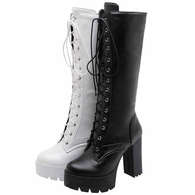 Moda platformu bağlama diz yüksek çizmeler kadın kare yüksek topuk motosiklet botları kadın Pu deri ayakkabı sonbahar kış bayanlar ayakkabı